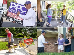 From top left: People's Party of Canada candidate Mike McMullen campaigns on Wharncliffe and Commissioners roads, New Democratic Party candidate Shawna Lewkowitz speaks with Megan Winkler, volunteer Mike Cairns and his son Jackson, 11, put up signs for Liberal candidate Arielle Kayabaga and Conservative candidate Rob Flack speaks with Dianne Springmann and her 13-year-old granddaughter Claudia Arthur. (Photos by Derek Ruttan and Mike Hensen, The London Free Press)