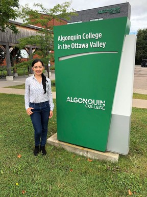Monica Numpaque is an international student from Colombia who is studying in the Environmental Management and Assessment program at Algonquin College's Pembroke Waterfront Campus.  She is among about 40 international students who are registered at the campus this fall.
