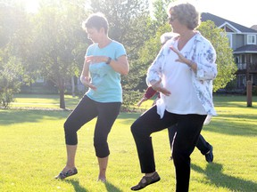 Parkland Tai Chi Association will begin to offer Qigong classes in October. Pictured, members of practice the martial art Tuesday, Aug. 25, 2020, in Spruce Grove's Jubilee Park. Photo by Evan J. Pretzer/Postmedia.