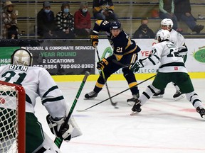 The Sprue Grove Saints downed the Sherwood Park Crusaders in back to back games, 4-1 and 5-2 on Sept. 17 and 18, to sweep their opening weekend of the AJHL 2021-2022 regular season. The Saints are back in action on Friday, Sept. 24, in Lloydminster when they face the Bobcats at the Centennial Civic Centre Arena. Puck drop is 7:30 p.m.