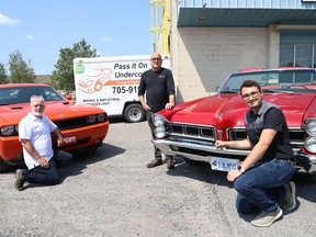Wade Hein, left, of Pass It On Undercoating, Mike Zimmer, sales manager of Victory Lube, and Joseph Gregorini, of Ponterio Developments, are inviting the community to Sudbury CARes car show in Sudbury, Ont. on September 12, 2021. The event, which is being organized by Hein and Gregorini and sponsored by Victory Lube, Lee Valley Motors and Sudbury Auto Glass, is a fundraiser to support the Sudbury Food Bank and the NEO Kids Foundation. The car show will be held at the Verdicchio Ristorante parking lot on Kelly Lake Road from 8 a.m. to 5 p.m. Larry Berrio will be performing at the show. Entry to the event is a donation at the gate. John Lappa/Sudbury Star/Postmedia Network