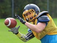 A Lively Hawks player takes part in a drill during practice at Lively District Secondary School in Lively, Ont. on Monday September 20, 2021. John Lappa/Sudbury Star/Postmedia Network