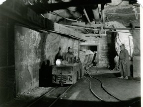Miners at work underground at the Hollinger Mine (under regular circumstances). A skunk invaded the workplace one morning causing a bit of a showdown – not sure who came out the winner during that confrontation.  Supplied/Timmins Museum