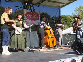 Onion Honey, a stringband from Kitchener, performs on the CreekSong Festival stage Saturday in Vienna. (Chris Abbott/Norfolk and Tillsonburg News)
