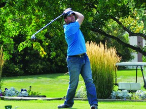 Bill Irwn hits a tee shot on the No. 1 hole at the Vulcan Golf and Country Club on Friday, Sept. 10, when the Vulcan Regional Victim Services Society hosted its golf tournament.