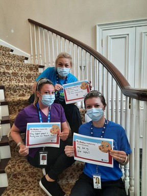 Nurses and personal support workers from VON Sakura House showing their support for the Tim Horton's Smile Campaign. SUBMITTED PHOTO