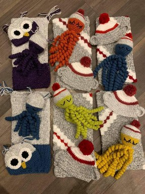 The Facebook group — NICU Crocheters — organized by Sherwood Park nurse Sharon MacKenzie has grown to more than 400 members over the past year. The volunteers donate holiday outfits to 120 NICU babies across Alberta annually. Photo Supplied