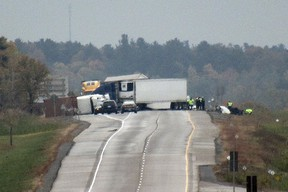 Ontario Provincial Police are investigating a double fatal collision that took place on Highway 401 in Kingston on Wednesday, Oct. 13, 2021. Elliot Ferguson/The Kingston Whig-Standard/Postmedia Network