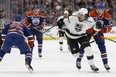 Los Angeles Kings forward Jordan Nolan (71) battles Darnell Nurse (25) and Leon Draisaitl (29) during the first period of a NHL game between the Edmonton Oilers and the LA Kings at Rogers Place in Edmonton on Tuesday, March 28, 2017.