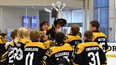 The Strathcona Warriors U-13 AA team celebrates after winning the first-ever Edmonton Oilers PeeWee Tournament.  Photo courtesy Edmonton Oilers