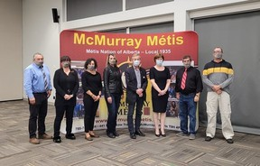 Mayoral candidates Mike Allen and Verna Murphy join the leadership of McMurray Métis for a debate on working with Indigenous communities. Candidate Sandy Bowman was recovering from an injury suffered earlier that day. Supplied Image/McMurray Métis