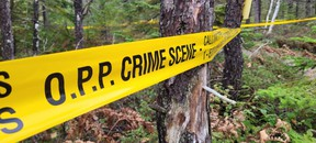 OPP crime scene tape marks off a wooded area near Scugog Lane in Northern Bruce Peninsula after police discovered a body Sunday while investigating a sudden death occurrence.