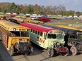 The Workman's OK Tire School Bus Race had 21 drivers entered during Brighton Speedway's annual Eve of Destruction on Saturday. SUBMITTED PHOTO