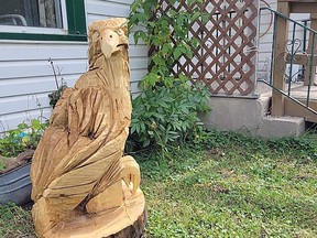 The statue was taken right from the front yard of the Oldfords. If you have any information as to the whereabouts of the statue contact the RCMP of MFNPS. (supplied photo)