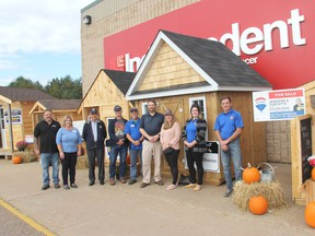 Project Playhouse, a fundraising initiative of the Rotary Club of Petawawa, is currently taking place. The playhouses up for grabs are on display outside of Hyska's Your Independent Grocer in Petawawa. Tickets for the draw for the playhouses are on sale until Oct. 17 at noon or until the 2,000 tickets sell out. In the photo are Rotary Club members and some of the project's sponsors and supporters. From left, Steve and Valerie Hyska, Rotarians Ed Chow, Patrick Tighe and Al Freethy, Bart Neville (Centure 21), Jessica Brooks (Remax) and Rotarians Kayla Millar and Gary Serviss. Anthony Dixon