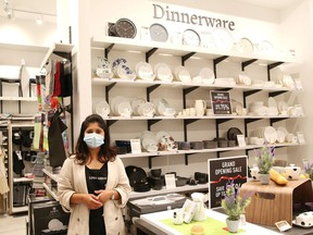 Sales consultant Oshin Satpute, of Linen Chest, shows off a section of the store at the New Sudbury Centre. John Lappa/Sudbury Star