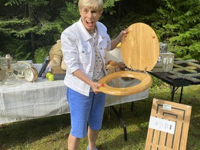 At a recent Manitoulin Yard Sale, among the treasures, our Bonnie found a shiny necessary accessory, which triggered her nostalgia of a gift that a gift from her houseguest - a friend who lived in Sudbury - had given her. Auntie Em did not approve. Supplied