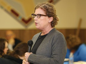 Carol Kauppi, of the Centre for Research in Social Justice and Policy at Laurentian University, makes a presentation on homelessness in Greater Sudbury at the N'Swakamok Native Friendship Centre in Sudbury, Ont. on Friday November 13, 2015. John Lappa/Sudbury Star/Postmedia Network