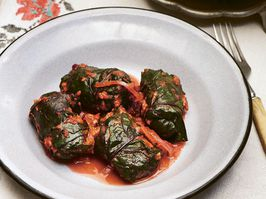 Beet leaf rolls with buckwheat and mushrooms from Summer Kitchens