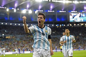 Argentina's forward and captain Lionel Messi celebrates scoring during a Group F football match between Argentina and Bosnia-Hercegovina at the Maracana Stadium in Rio De Janeiro during the 2014 FIFA World Cup on June 15, 2014. (JUAN MABROMATA/AFP/Getty Images)