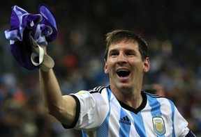 Argentina's forward and captain Lionel Messi celebrates his team's victory at the end of the semi-final football match between Netherlands and Argentina of the FIFA World Cup at The Corinthians Arena in Sao Paulo on July 9, 2014.   ADRIAN DENNIS/AFP/Getty Images