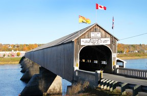 The longest wooden covered bridge in the world is located in Hartland, New Brunswick