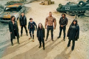 """The cast of The Umbrella Academy (left to right): Robert Sheehan, Justin H. Min, Aidan Gallagher, Ellen Page, Tom Hopper, David Casta""""Eda, and Emmy Raver-Lampman."""