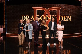 The Dragons from left: Vincenzo Guzzo, Arlene Dickinson, Jim Treliving, Michele Romanow, Lane Merrifield and Manjit Minhas.