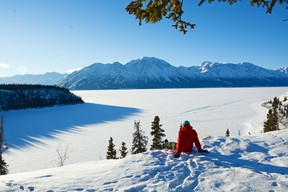 Shakat Tun Wilderness Camp is perched on a hillside that overlooks Christmas Bay on Kluane Lake.