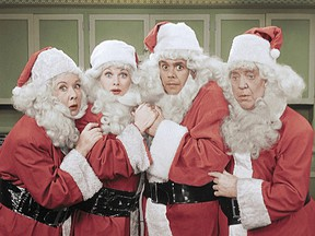 The colourized version of I Love Lucy's Christmas Episode (first presented in black and white in 1956), saw Fred, Ethel, Lucy and Ricky infamously don Santa costumes.