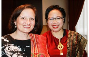 Serbian Charge d'Affaires Mirjana Sesum-Curcic and Indonesian minister-counsellor Cicilia Rushiharini, attended the Mount Sinabung charitable dinner organized by Friends of Indonesia March 22 at the Holiday Inn. The evening benefited victims of the Mt. Sinabung volcanic eruptions.