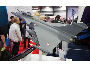 A model of a Rafale jet fighter on display as the annual trade fair for military equipment known as CANSEC took place at the EY Centre near the airport.