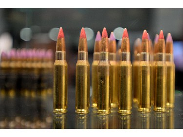 Ammunition is displayed at the CANSEC trade show in Ottawa on Wednesday, May 28, 2014.