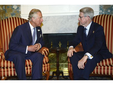 Prince Charles, left, meets with Lt.-Gov. John James Grant in Halifax on Sunday, May 18, 2014. The Royal couple begin a four-day tour of Canada.