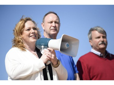 Progressive Conservative MPP representing Nepean-Carleton, Lisa MacLeod speaks to the crowd at the protest where147 Trucks and many supporters gathered at the Canadian Tire Centre parking lot to protest against the city on Saturday, May 10, 2014.