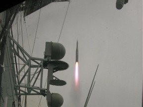 Off the coast of California, HMCS Calgary fires an Evolved Sea Sparrow Missile (ESSM) in this file shot from 2007.