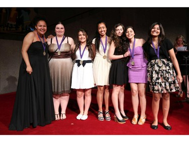Cappies nominees for Critic Team, from Lester B. Pearson High School arrive on the Red Carpet, prior to the start of the 9th annual Cappies Gala awards, held at the National Arts Centre, on June 08, 2014, in Ottawa, Ont.