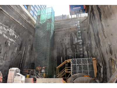 """Central portal. Entrance shaft - elevator and stairs leading to the entry to central shaft """"Construction of the Light Rail Transit tunnel (LRT) in Ottawa, June 2014."""""""