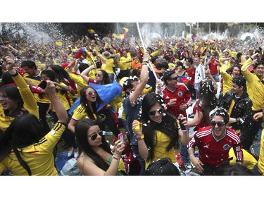 Colombia soccer fans cheer during their team's soccer World Cup game against Greece in Bogota, Colombia, Saturday, June 14, 2014. Colombia defeated Greece 3-0.