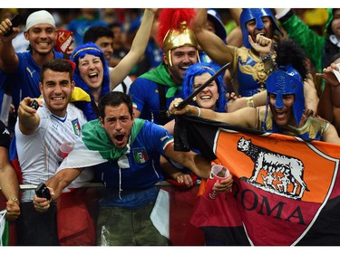 Italy fans cheer during the 2014 FIFA World Cup Brazil Group D match between England and Italy at Arena Amazonia on June 14, 2014 in Manaus, Brazil.