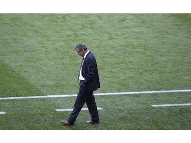 Greece's Portuguese coach Fernando Santos reacts during a Group C football match between Colombia and Greece at the Mineirao Arena in Belo Horizonte during the 2014 FIFA World Cup on June 14, 2014.