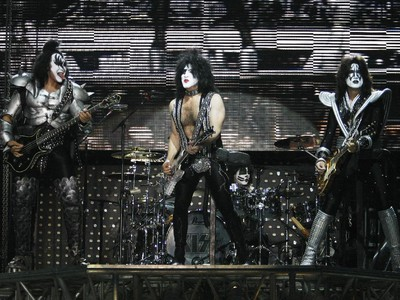 L to R: Gene Simmons, Paul Stanley and Tommy Thayer of Kiss.  Kiss concert at the Ottawa Bluesfest, July 15, 2009.