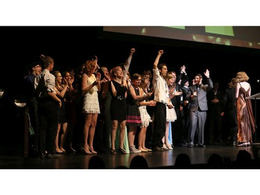 The winner(s) for Critics' Favorite Musical: Sweeney Todd, Earl of March Secondary School, accept their award, during the 9th annual Cappies Gala awards, held at the National Arts Centre, on June 08, 2014, in Ottawa, Ont.