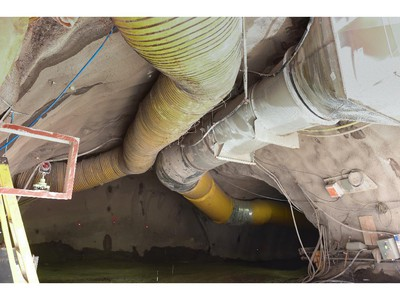 """Ventilation at entrance of central portal - monitoring points at central shaft running tunnel looking east (with section to the west used to store excavated materials) """"Construction of the Light Rail Transit tunnel (LRT) in Ottawa, June 2014."""""""