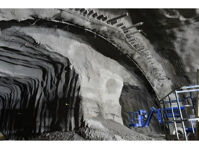 """West portal. Limit of excavation on that date - WP umbrella support in Lyon Station cavern """"Construction of the Light Rail Transit tunnel (LRT) in Ottawa, June 2014."""""""