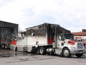 Canadian Blood Services bloodmobile was destroyed by fire on Sunday.