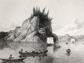 """A page entitled """"Expedition Crossing Lake Prosperous"""" from Franklin's book.  Franklin Expedition relics, including his book about an earlier Arctic voyage, are carefully stored In the Museum of Nature's collection's building in Aylmer."""
