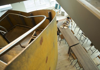 Glass and natural materials, including this steel staircase, are heavily used in the new Shopify offices at 150 Elgin St. in Ottawa Friday, October 17, 2014. (Darren Brown/Ottawa Citizen)