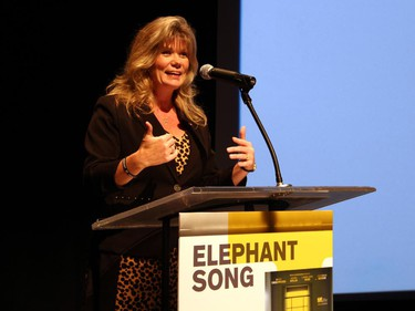 Heritage Minister Shelly Glover addresses the audience at the Otawa film premiere of Elephant Song, held at the National Arts Centre Theatre on Monday, Sept. 29, 2014.