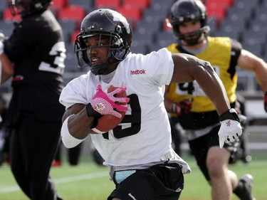 Ottawa RedBlacks running back Roy Finch (19) during practice today at TD Place in Ottawa, Monday, October 27, 2014. The RedBlacks take on Hamilton Tiger-Cats this Friday at TD Place.